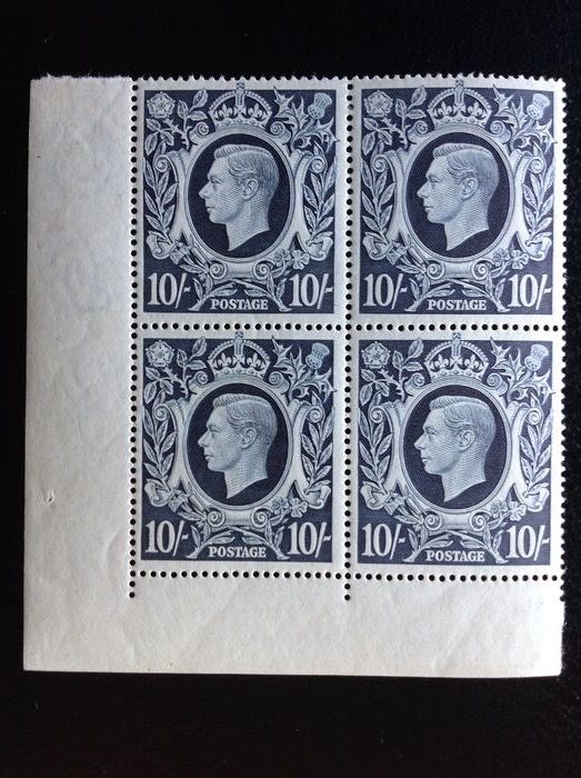Großbritannien 1939 - Great Britain 1939 effigy 10 shillings in block of four no. 226 catalogue €1200 - Unificato 226