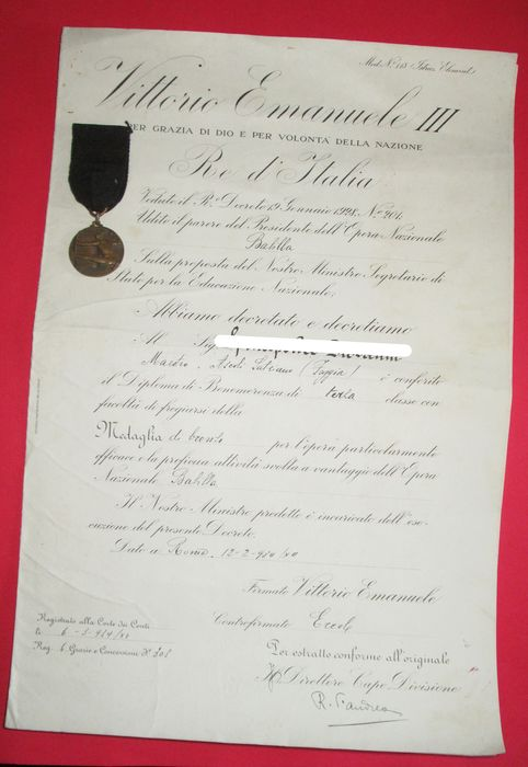 Italy - Opera Nat. table - Document, Medal - 1934