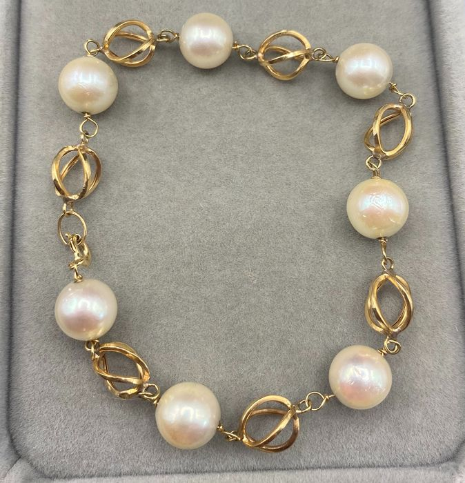 18 kt. Yellow gold - Bracelet - Pearls