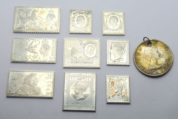 United Kingdom - Collection of 9 Stamp Shape 925 Silver Medals + Coin - 170 gram - Silver