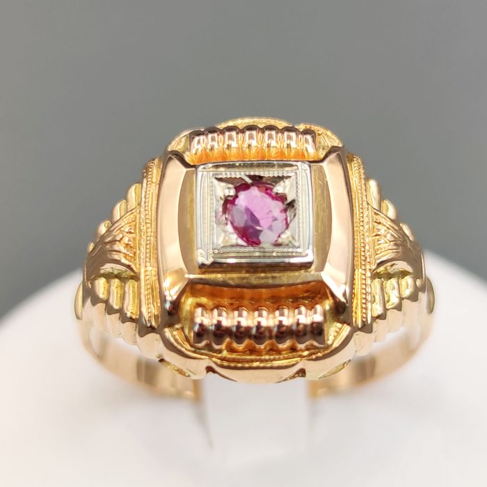 18 kt. Pink gold, White gold, Yellow gold - Ring - 0.20 ct Ruby