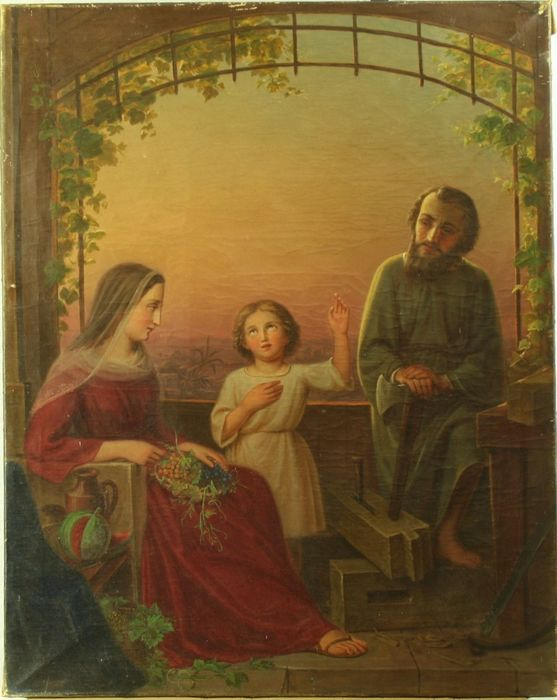 """Subject inspired by the great masters of the French Renaissance - Important oil on canvas """"Holy Family"""" - 19th century"""
