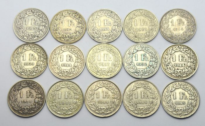 Switzerland - 1 Franc 1912/1961 (15 coins) - Silver