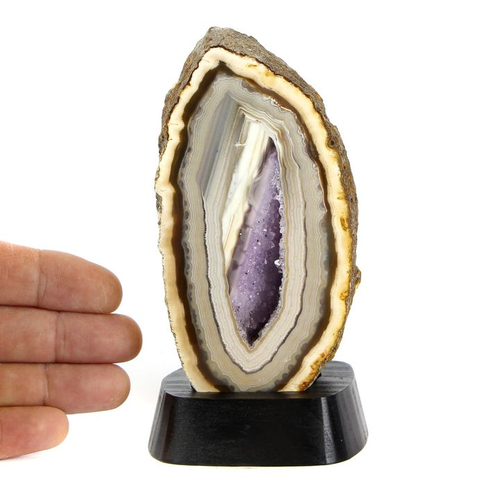 Beautiful Agate and Amethyst - No RECERVE Geode - 142×70×65 mm - 565 g