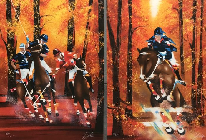 Victor Spahn - 2 lithographies. - Saut d'obstacle - Polo