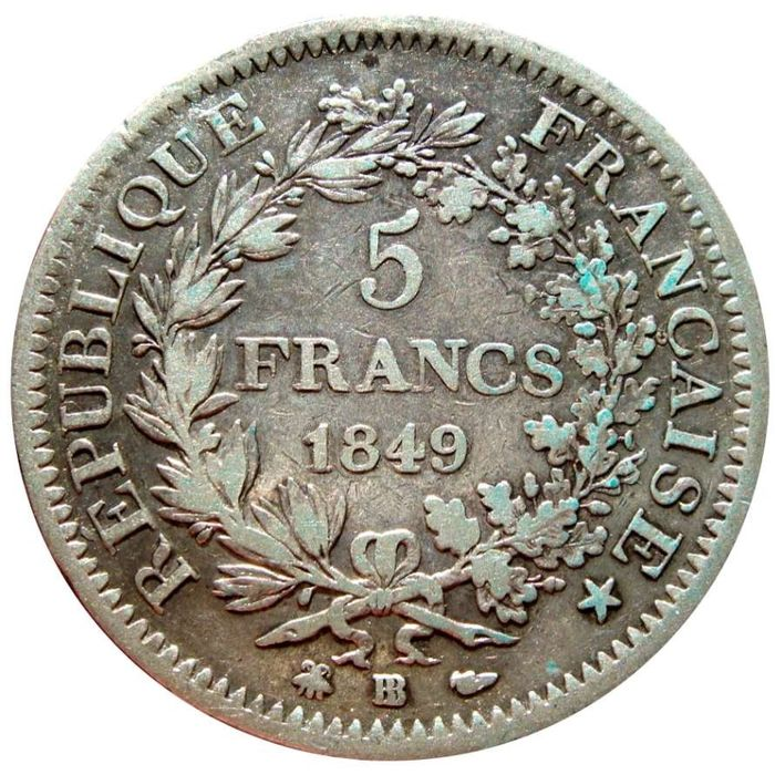 France - 5 Francs 1849-BB Hercule - Silver