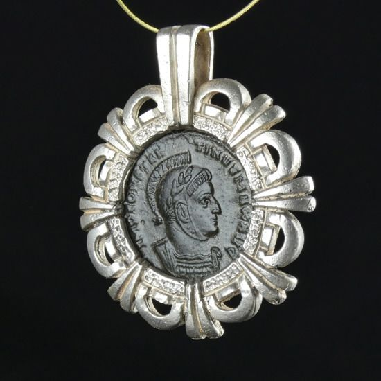 Ancient Roman Silver Modern Pendant with ancient coin of Constantine I - (1)