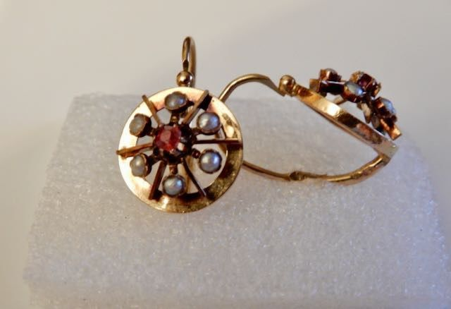 Sans réserve ! Dormeuses  - 18 kt. Yellow gold - Earrings Ruby - Pearls