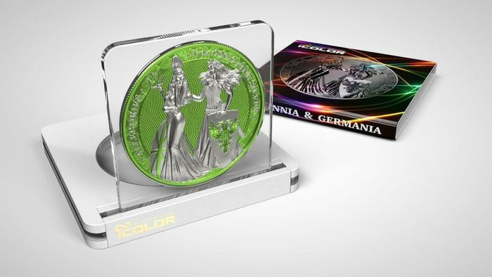 Germany - 5 Mark 2019 - Germania -  The Allegories i-Color Edition - CHARTREUSE- 1 Oz - Silver