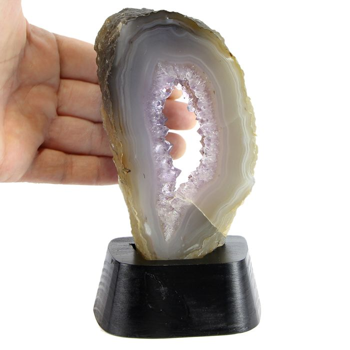 Agate Geode with Amethyst Crystals Heart - No RECERVE !!! Top Quality - 160×90×65 mm - 590 g