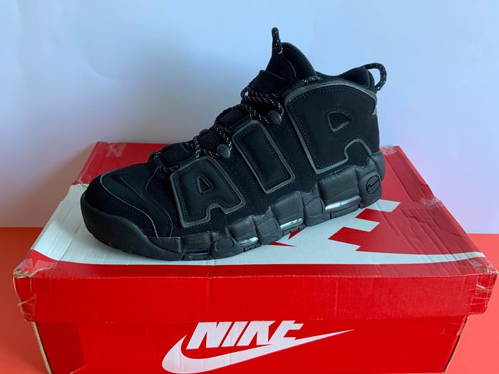 Nike - Nike Air More Uptempo Black Reflective Basketball shoes - Size: 45.5
