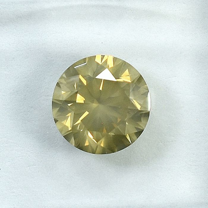 Diamond - 1.50 ct - Brilliant - Natural Fancy Yellow-Brown - I1 - VG/VG/G