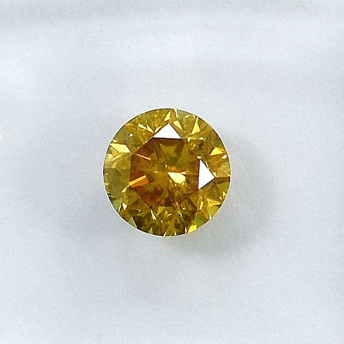 Diamond - 0.60 ct - Brilliant - Natural Fancy Deep Orangy Yellow - SI1