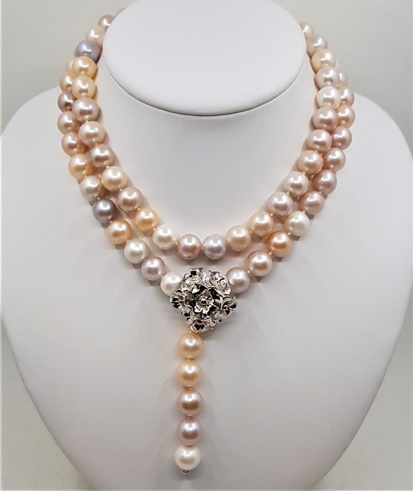 No reserve price - 925 Silver - 11x12mm Multi Color Pearls - Long Necklace
