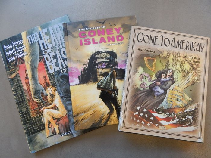 Lot met 3 uitgaven - Gone to Amerikay + The Secrets of Coney Island + The Heart of the Beast - 1x hc met stoffen omslag + 2x hc - Hardcover - 1st edition - (2009/2014)