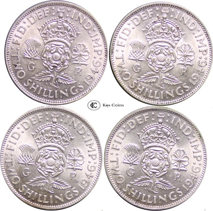 Great Britain - Lot of 4 x Florin, George VI (1937 - 1952), 1946 - Silver