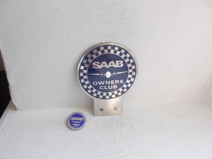 Crachá - Vintage SAAB Owners Club chrome and enamel car badge with pin badge fine detail - 1970-1980