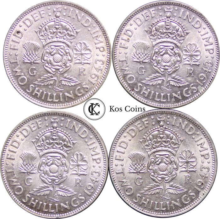 Great Britain - Lot of 4 x Florin, George VI (1937 - 1952), 1943 - Silver