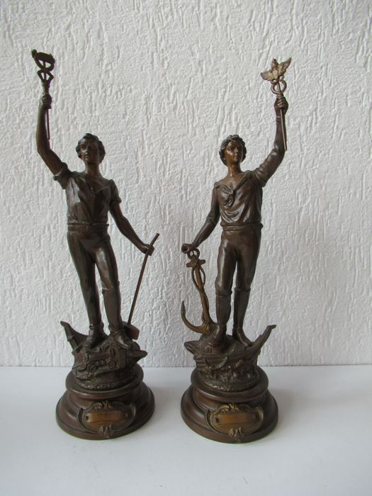 2 Images ode to Industry - Spelter - about 1900