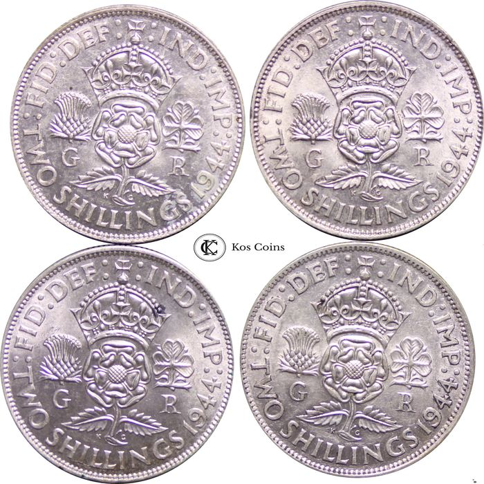Great Britain - Lot of 4 x Florin, George VI (1937 - 1952), 1944 - Silver