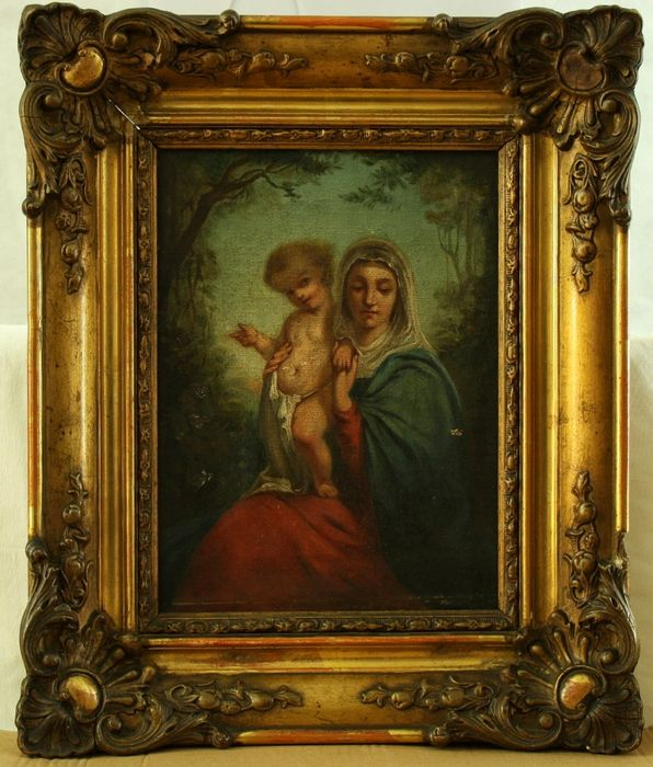 Painting, Virgin and child - oil on canvas - First half 19th century