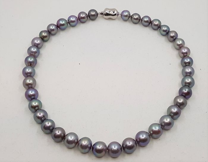 no reserve - 925 Silver - 10x12mm Beautiful Colour Edison Pearls - Necklace