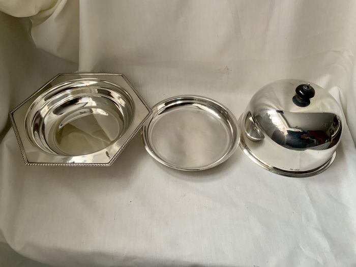 Antique / vintage english Art Deco sterling silver muffin dish / worming food dish ,  1931 (1) - .925 silver, Sterling silver all except small top finial small ebony piece - Harrison Brothers & Howson (George Howson) - U.K. - 1931