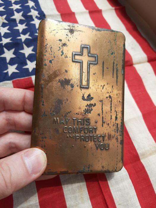 United States of America - WW2 Heart Shield Bible - BULLETPROOF bible - Government Issue - Named!