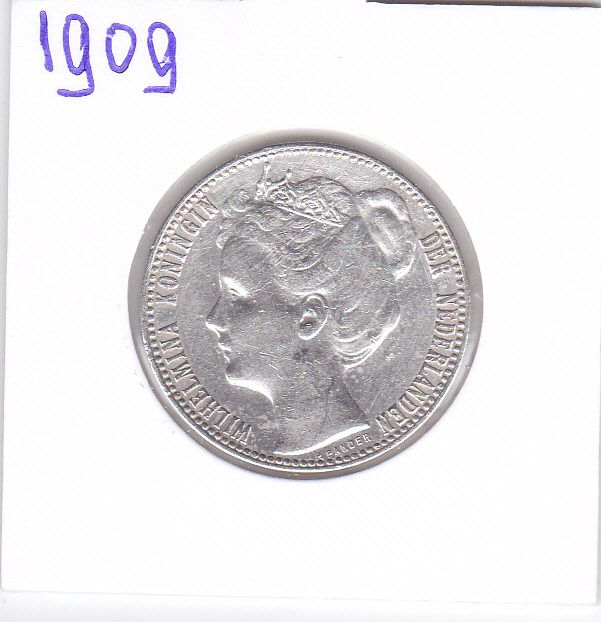 The Netherlands - 1 Gulden 1909 Wilhelmina - Silver