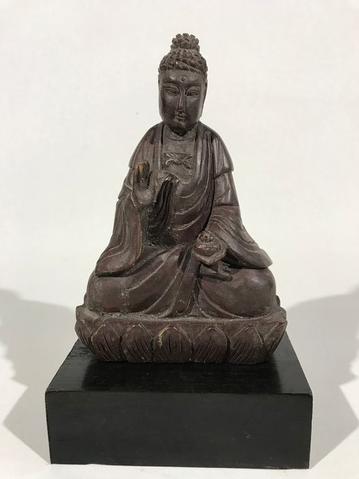 Stand, Statue - Wood - Buddha - Chinese carved wooden statuette of  Buddha - China - Qing Dynasty (1644-1911)