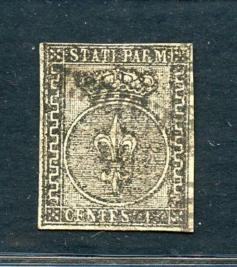 """Italienische antike Staaten - Parma 1852 - 15 cents pink - with variety without """"5"""" - Sassone N. 3"""