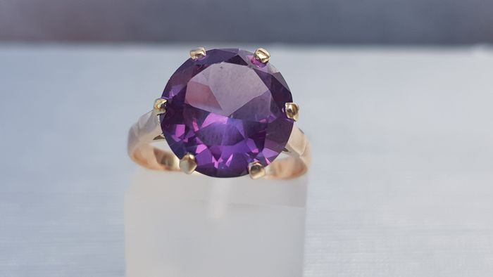 Vintage (Circa 1960's) Round Cut Amethyst Gold Ring Ornate Setting - 9ct 375 Oro giallo - Anello Ametista