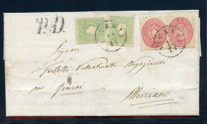 Antike italienische Staaten - Lombardo Veneto 1863 - Two-tone letter from Vicenza to Morciano - Sassone N. 35/38