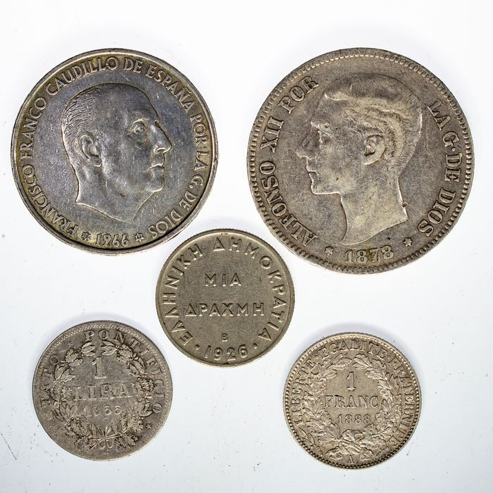 France, Greece, Papal States, Spain - Lote de cinco monedas : 5 Pesetas - 100 Pesetas - 1 Lira - 1 Franco - 1 Dracma - Silver, Cobrenickel