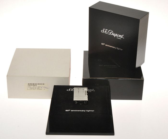 S.T. Dupont - Dupont 60th Anniversary Limited Edition platinum Ligne 1 lighter New in box