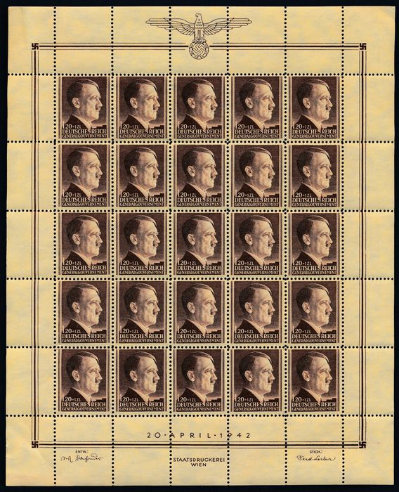Governatorato generale 1944 - 53th Birthday of Adolf Hitler, 3 complete print sheets with complete sheet margins - Michel Nr. 89/91 (25)