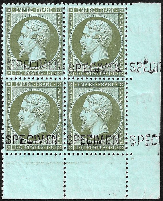 "Frankrijk 1862 - Empire, perforate, 1 centime olive, block of 4 with ""spécimen"" overprint and sheet margin corner. - Yvert 19f"