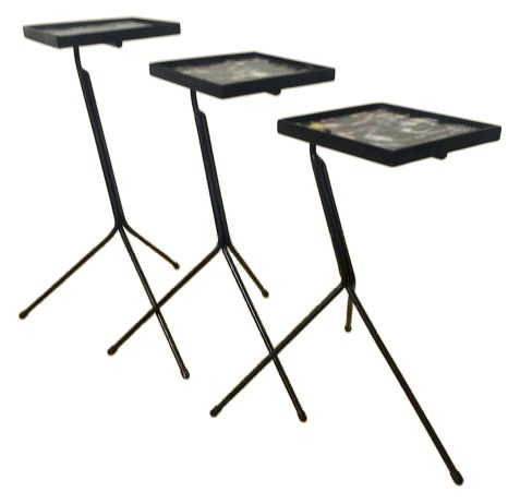 Three iron nesting tables from the 60s