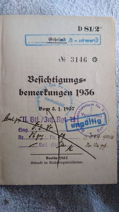 Germany - Book, D 81/2: GEHEIM! Sightseeing notes of the German Wehrmacht 1936. From 5.1.1937. Rare - 1936