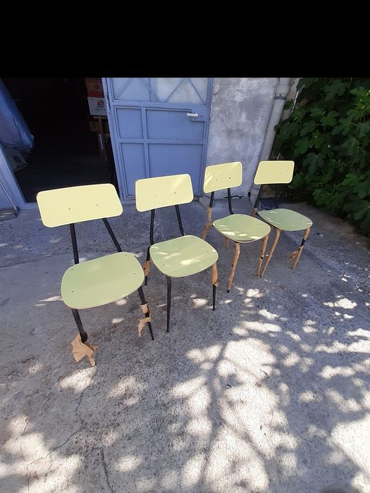 Wrought iron and beech chairs