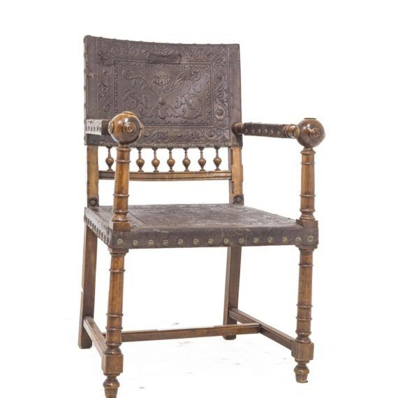 Armchair - Renaissance Style - Leather, Wood - Late 19th century