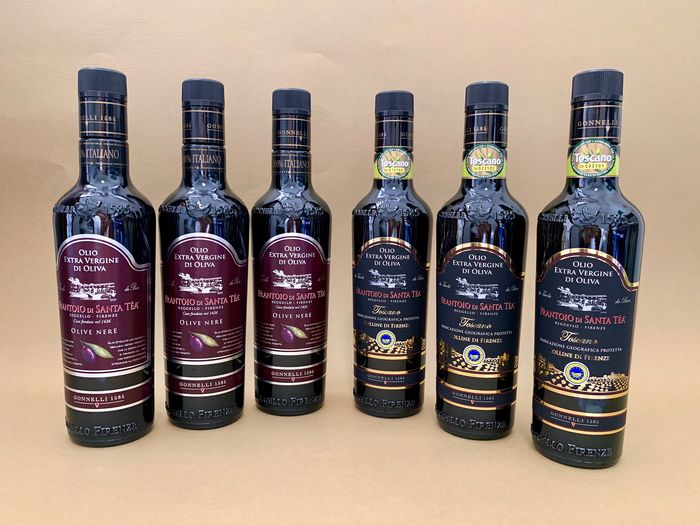 Frantoio di Santa Tea; Olive Nere x 3 & Colline di Firenze x 3 - Extra virgin olive oil - 6 bottles (500ml)