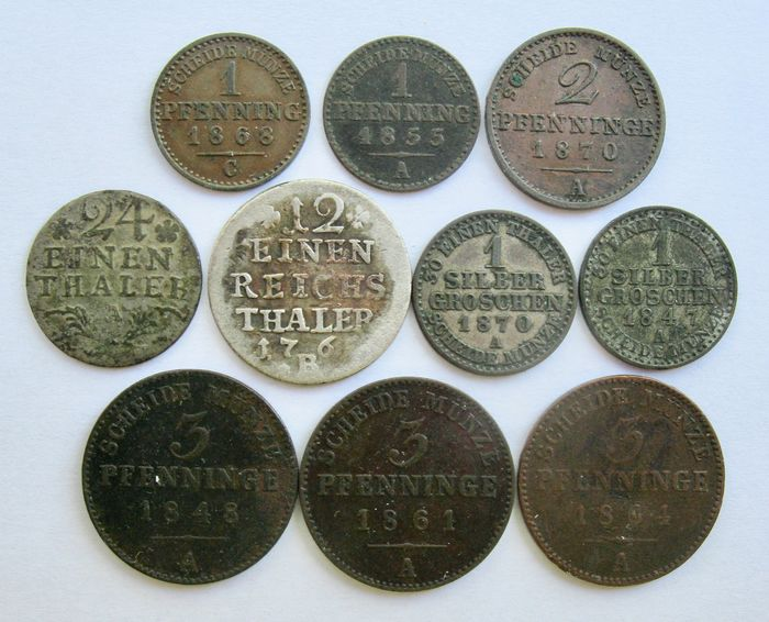 Germany - Prussia - Lot various coins  1765/1870 (10 different) incl. 4x silver