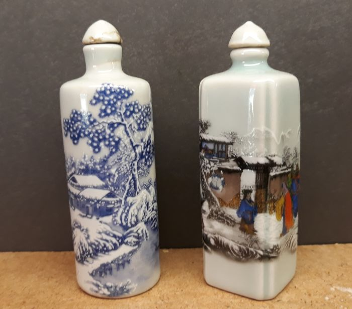 2 porcelain snuff bottle, tobacco snuff bottles
