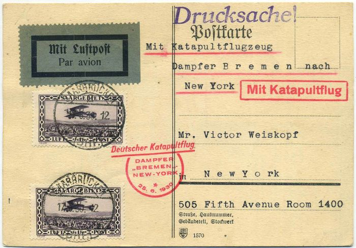 Saarland - Katapult post D. Bremen 17/6/1930 from Saarland to USA. Rare