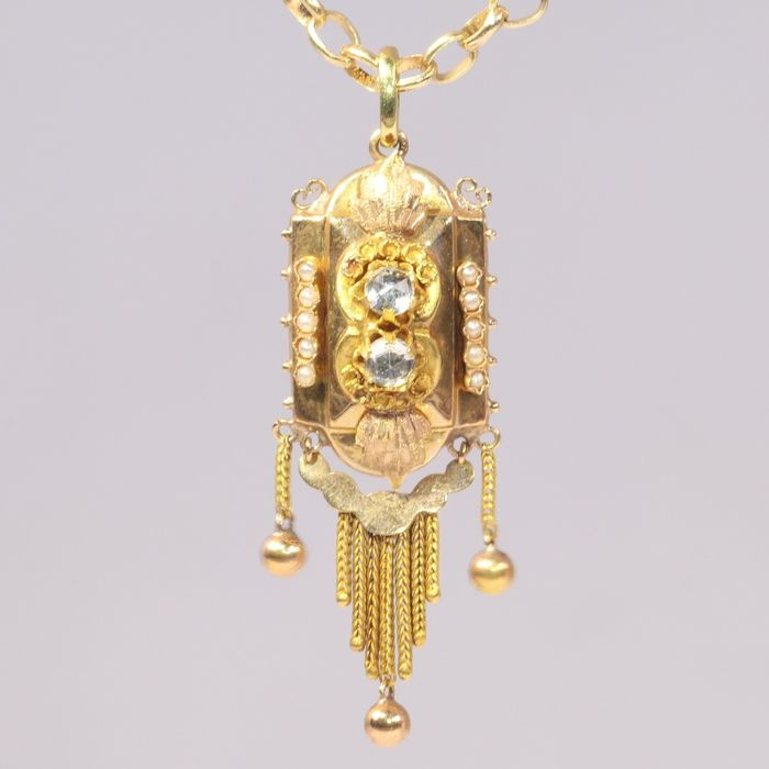 18 kt. Pink gold, Yellow gold - Pendant, Antique Victorian, Anno 1880 - Pearl - White Strass, NO RESERVE PRICE