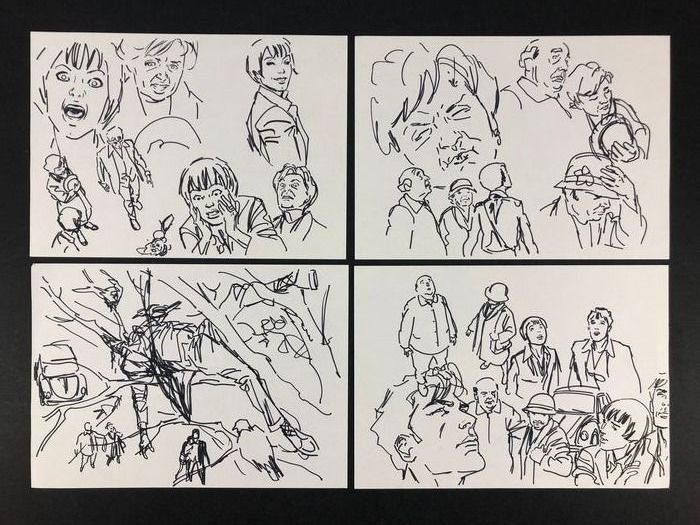 """Dylan Dog - Bruno Brindisi - original sketches """"Mai più Ispettore Block"""" - Loose page - First edition"""