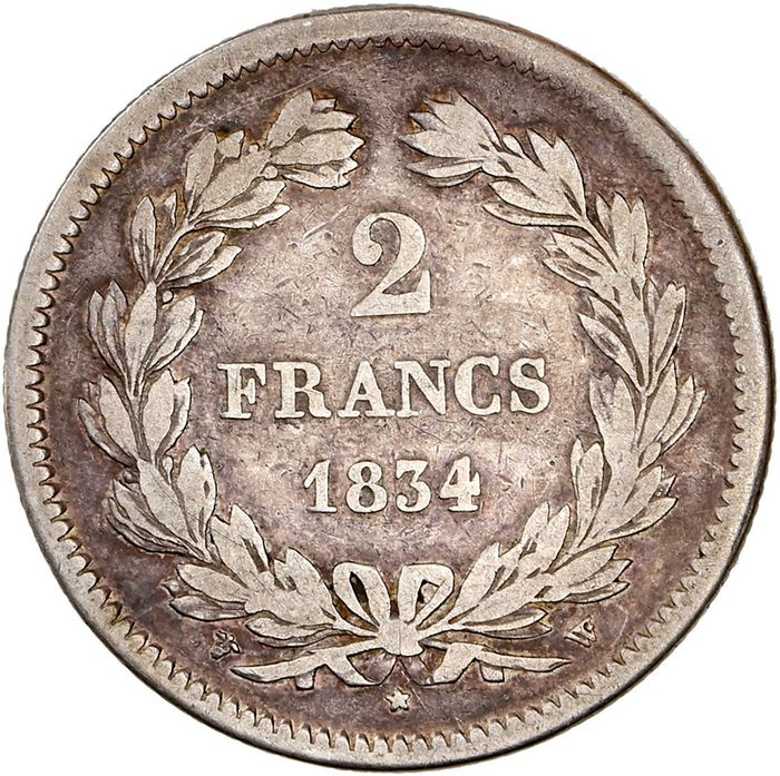 France - Louis Philippe I - 2 Francs 1834-W (Lille) - Silver
