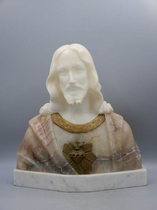 Auguste Carli (1868-1930) - Finely carved bust of Jesus, signed A. Carli  - Marble - Early 20th century