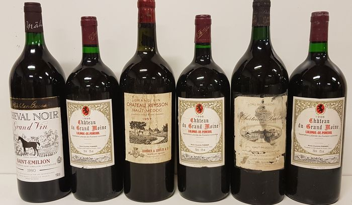 Gemengd kavel -  Mixed lot of Bordeaux red wine  - Bordeaux - 6 Magnums (1.5L)